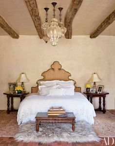 Jane Fonda designed the headboard in the master bedroom of her Santa Fe, New Mexico, ranch; the bed linens are vintage, and the ceiling fixtures are Italian. Next Bedroom, Dream Bedroom, Home Bedroom, Master Bedroom, Bedroom Decor, Bedroom Ideas, Headboard Ideas, Headboards, Mirror Bedroom