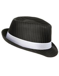 Chapeau gangster noir rayé  adulte : Ce chapeau de gangster noir rayé pour adulte possède une bande blanche qui agrémente la partie interne.Il possède un tour de tête de 56 cm environ.Il est...