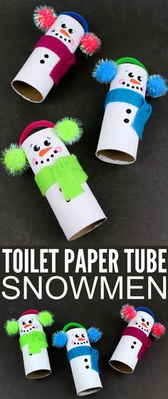 holiday crafts These Recycled Toilet Paper Tube Snowmen are perfect for displaying this holiday season and would make awesome keepsake gifts. They are a fun winter kids craft too, let them get creative and see what they come up with! Kids Crafts, Holiday Crafts For Kids, Crafts For Kids To Make, Toddler Crafts, Preschool Crafts, Gifts For Kids, Craft Projects, Arts And Crafts, Kids Winter Crafts
