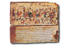 "Homer's Iliad codex, 5th-6th c. ad. Scientists who decode the genetic history of humans by tracking how genes mutate have applied the same technique to the Illiad, probably compiled c.762 bc. ""Languages behave just extraordinarily like genes. It is directly analogous."" Its oral tradition dates to the 13th c. bc.  ""It's an amalgam of lots of stories focused on conflicts in one area of northwestern Turkey."" The scientists tracked the words as they would track genes in a genome. click through"