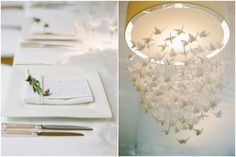 all white wedding decor Loving this hanging crane chandelier