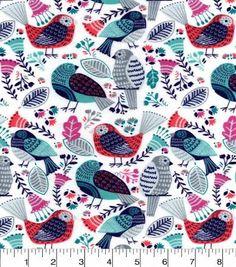 Snuggle Flannel Fabric-Birds Rose Blue