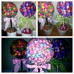 DIY candy trees: fun centerpieces for a ready to pop baby shower! Use Dum dum lollipops,double bubble chewing gum, or any other creative candy!