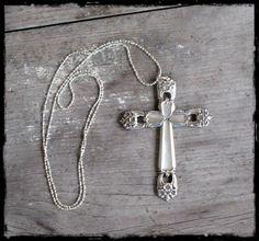 Spoon Handle Cross Necklace www.laughingfrogstudio.etsy.com