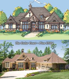 The Cedar Court Plan 5004 www.dongardner.com - Old World elegance is created by a beautiful combination of stucco and stone. A towering entryway makes a grand impression on the front façade, but the rear elevation - with its turret and covered porches - is just as magnificent. #European #Estate #Home