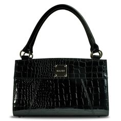 Ella - black  - RETIRED -  A perennial best-seller.  This is a transition piece that moves smoothly from workplace to an evening at the opera -- any season of the year. Ebony crocodile texture with a high gloss finish.  Pair it with Chain Handles in black for an even more urbane look.  $24.95