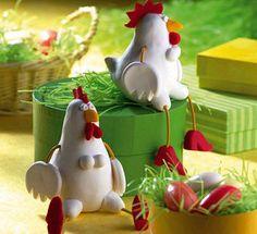 Animales hechos de pasta fimo, Faciles de modelar, gallinas de fimo