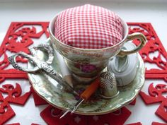 Tea Cup Pin Cushion (Red Gingham) - Folksy