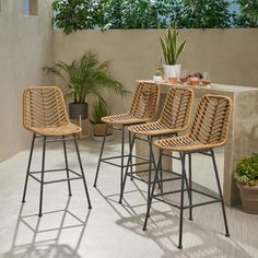 Wicker Bar Stools, Outdoor Bar Stools, Bar Chairs, Outdoor Chairs, Outdoor Bar Sets, Island Chairs, Rattan Chairs, Outdoor Spaces, Outdoor Furniture