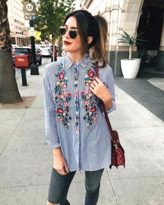 striped embroidery floral shirt- Pre-spring what to wear outfit ideas – Just Trendy Girls