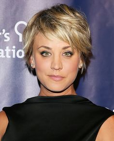 Kaley Cuoco's pixie tousled to perfection and gray, black, and champagne smoky eye