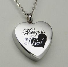 ALWAYS IN MY HEART CREMATION JEWELRY ALWAYS HEART URN NECKLACE MEMORIAL KEEPSAKE