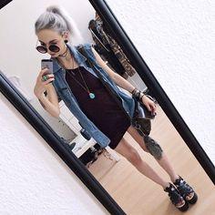 Nice Denim style Kimi Peri - Wrangler Vintage Denim Vest, Thrifted Turquoise Stone Pendant, Choke...