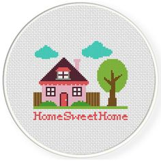 Home Sweet Home Cross Stitch Illustration