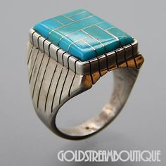 NATIVE AMERICAN RAY JACK NAVAJO STERLING SILVER TURQUOISE MOSAIC INLAY RECTANGULAR MEN'S RING SIZE 9.75