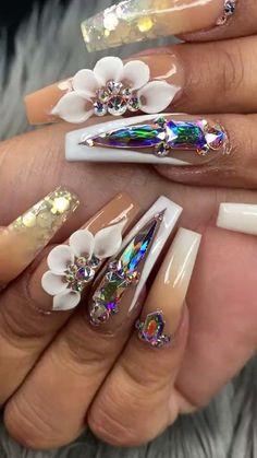 Bling Acrylic Nails, Rhinestone Nails, 3d Nails, Lily Nails, Rose Nails, 3d Flower Nails, Nails Design With Rhinestones, Cute Acrylic Nail Designs, 3d Rose
