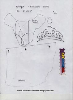ARTESANATO COM QUIANE - Paps,Moldes,E.V.A,Feltro,Costuras,Fofuchas 3D: Molde Princesinha Sofia de e.v.a