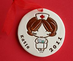 Personalized Nurse Woman Ornament - Custom Made to Order on Etsy by Sunshine Ceramics