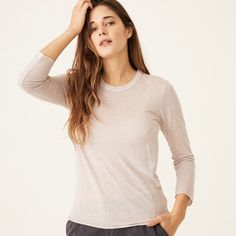 Three quarter length sleeve crew neck tee in our tencel linen baby jersey fabric Tencel, Linen Machine wash cold, tumble dry low Modeled in a size S Model measurements: Height: 5 ft., Bust: 32 in. S Models, Quarter Sleeve, Crew Neck, Final Sale, Tees, Sleeves, Cold, Clothes, Fabric