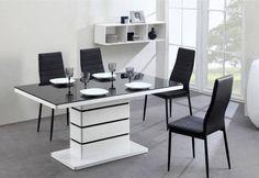 table s a manger moderne design laquee blanc et noir