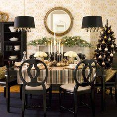 black & gold xmas decor
