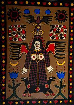 Ariano Suassuna - Painel óleo sobre madeira de 120x180cm uma raridade esta obra de Ariano, assinada e datada de 1986, intitulada da Pedra do Reino.