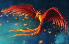 Kunst, Zeichnung, Vogel, der Phoenix, Flug, Federn Vektorgrafik