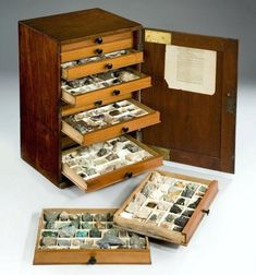 A century mahogany collectors cabinet, the panelled door opening to reveal thirteen oak lined drawers, each divided into compartments containing a collection of geological specimens Objets Antiques, Mahogany Cabinets, Style Rustique, Cabinet Of Curiosities, Ideas Para Organizar, Rock Collection, Crystal Collection, Antique Boxes, Displaying Collections