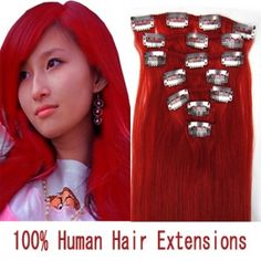 """15"""" 7pcs set Clip-in hair remy Human Hair Extensions #red,shop at www.costwe.com"""