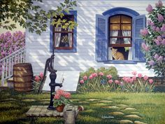 Sunlight and Shadow by John Sloane ~ country house ~ cat in window ~ water pump ~ spring blossoms