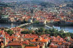 Prague - one of the most beautiful places in Europe. Our first day here was so smoggy that its beauty was hidden, but clear blue skies the next day revealed Prague in all its glory Prague City, Prague Czech Republic, Clear Blue Sky, Places In Europe, World Best Photos, Aerial View, Paris Skyline, Dolores Park, Beautiful Places