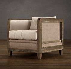 Deconstructed Shelter Arm Chair Antiqued Cotton, Resto Hardware