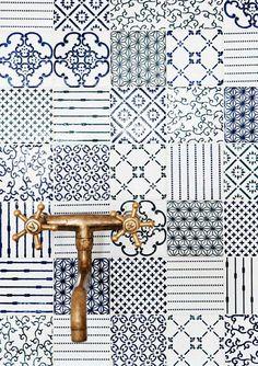 mixed print tile.