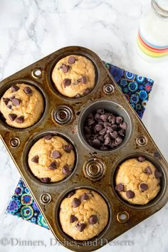 Peanut Butter Chocolate Chip Muffins - light and fluffy peanut butter muffins studded with chocolate chips. A peanut butter and chocolate lover's dream come true!
