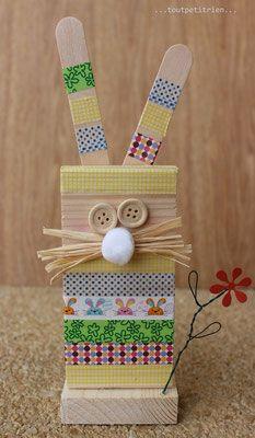 coniglio in legno fai da te e nastro adesivo.  www.toutpetitrien.ch/bricos/ - fleurysylvie