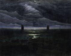 """magictransistor: """" Caspar David Friedrich, Seashore by Moonlight, c. 1836. """""""