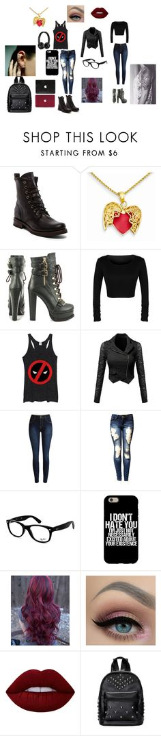 """""""Untitled #84"""" by alannahzoe on Polyvore featuring Frye, Luichiny, Marvel Comics, Beats by Dr. Dre, Ray-Ban, Lime Crime and Mike Saatji"""