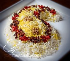 Lovely.jeweled rice in the shape of a boteh (fruit of the tree of life)