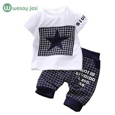 Newborn set todays SuperDeals 33% off 2 days left http://s.click.aliexpress.com/e/FyJyJUnyb Baby boy clothes 2016 Brand summer kids clothes sets t-shirt+pants suit clothing set Star Printed Clothes newborn sport suits