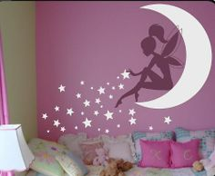 Baby Girl Room Decor Fairy Wall Decal w/ Blowing Stars Vinyl wall art Wall Decals for Nursery Wall Sticker DecalIsland- Fairy SD 081 Fairy Bedroom, Girls Bedroom, Bedroom Decor, Wall Decor, Bedroom Ideas, Nursery Decor, Wall Art, Bedrooms, Nursery Art