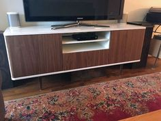 Best Pictures IKEA Hack: Mostorp TV Unit goes Mid-Century Modern Tips The IKEA Kallax series Storage furniture is an essential part of any home. They supply buy and ass Tv Stand Hack, Ikea Tv Stand, Credenza Ikea, Modern Credenza, Modern Tv Units, Mid-century Modern, Modern Decor, Ikea Hacks, Furniture Screws