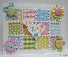 Baby Quilt Card. Great way to use the rickrack punch