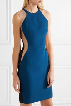 Stella McCartney - Eliana Tulle-paneled Stretch-cady Dress - Petrol - IT40
