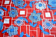 Vintage Vinyl Tablecloth  1970s Red White and Blue Calico