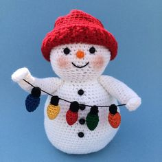 SNOWMAN WITH LIGHTS Pdf Crochet pattern ♡ by bvoe668 on Etsy