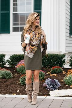 fall outfit ideas, dress and tall boots, green dress with plaid blanket scarf and knee-high suede boots