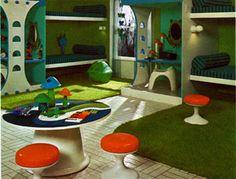 1970s Springtime Childrens Bedroom Interior.
