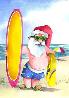 Surfing Santa watercolor print, signed and matted by artist Beth Alyse Kantor Aussie Christmas, Summer Christmas, Tropical Christmas, Coastal Christmas, Father Christmas, Santa Christmas, Christmas Stockings, Christmas Decor, Christmas Applique