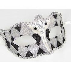 black and white glitter   bauta venetian mask black silver mardi gras halloween costume Century ...