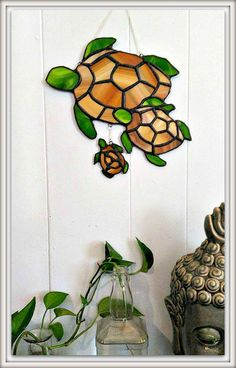 Whimsical Family of Sea Turtles Stained glass wall hanging